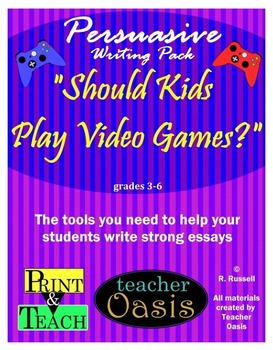 "Persuasive Writing Prompt ""Should Kids Play Video Games?"""