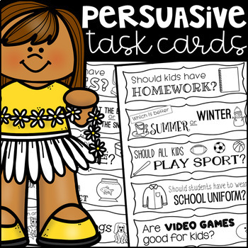 Persuasive Writing Prompt Task Cards - Black and White Ink