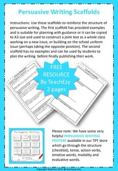 Persuasive Writing Scaffolds FREE resource