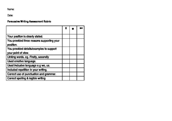Persuasive writing assessment rubric