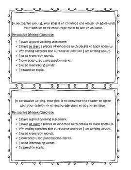Persusive Writing Checklist