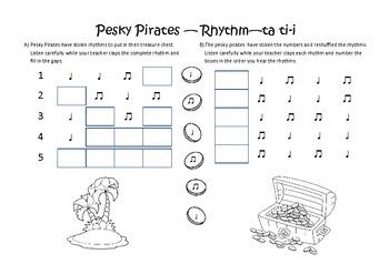 Pesky Pirates ta ti-ti (Rhythmic Dictation)