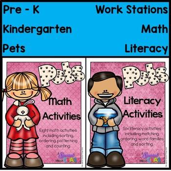 Pet Math and Literacy Work Station Bundle