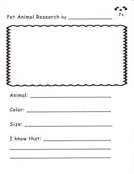 Pet Research Writing Page for Kindergarten and First Grade