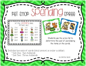 Pet Shop Spending Spree - Money Sums Up to a Dollar