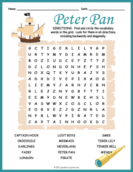 Peter Pan Word Search Puzzle