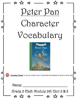 Peter Pan Character Vocabulary Journal (Unit 2 & 3)