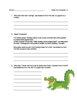 Peter Pan Chapters 15-17 comprehension questions