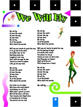 """Lyrics for Classic Starts Peter Pan Theme Song """"We Will Fl"""
