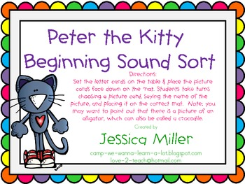 Peter the Kitty Beginning Sound Sort