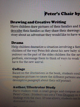 Peter's Chair by Ezra Jack Keats, Arts Integration ideas