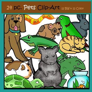 Pets 24 pc. Clip-Art Set: 12  B&W, 12 Color