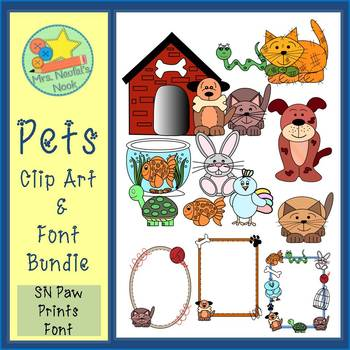 Pets Clip Art and Font Bundle