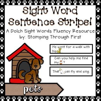 Sight Word Sentence Strips: Pets Set