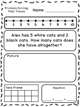 Pets Theme Addition & Subtraction Word Problems (Kindergar