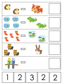 Pets themed Math Subtraction preschool learning game.  Day
