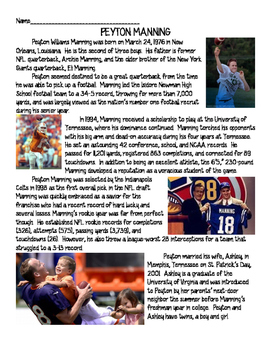 Peyton Manning Biography Reading Comprehension Worksheet;