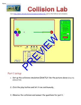 "PhET ""Collision Lab"" activity guide."