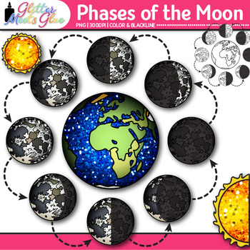 Phases of the Moon Clip Art {Earth's Solar System Graphics