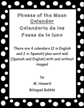 Phases of the Moon/ Fases de la luna Calendar and Word Wall