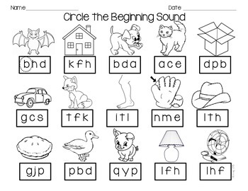 Phoneme Isolation, Letter Sound Practice Sheets
