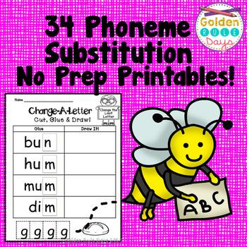 Phonemic Awareness Phoneme Substitution 34 No Prep Printables