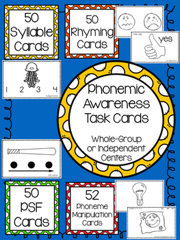 Phonemic Awareness Task Cards BUNDLE: ALL 4 SETS
