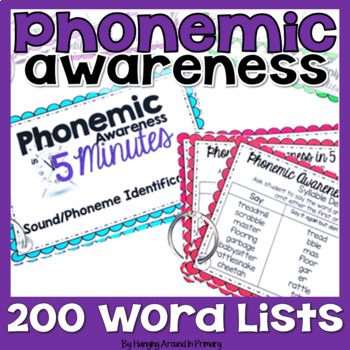 Phonemic Awareness Word Lists or Teacher Task Cards