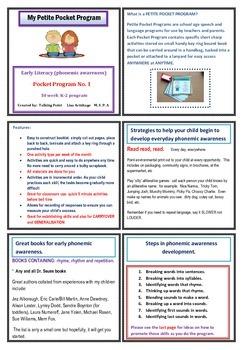 Phonemic awareness Early literacy Pocket Program k-2