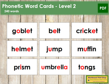 Phonetic Word Cards - Level 2 (black/red)