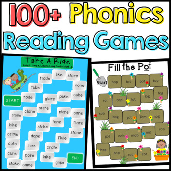 Phonics: 101 Phonics Reading Board Games (CVC, Blends, Dig