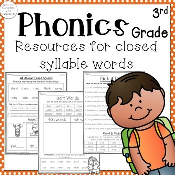 Phonics: 3rd grade Unit 1 Resources for closed syllables