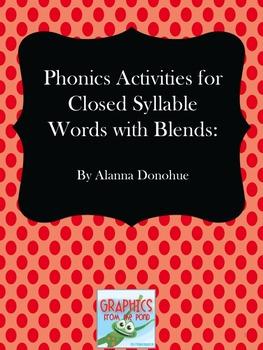 Multi-Sensory Reading Program Activities for Closed Syllab