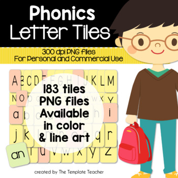 Phonics Alphabet and More Letter Tiles Clip Art Personal a