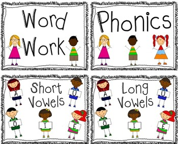 Phonics Anchor Posters for Focus Wall Long and Short Vowel