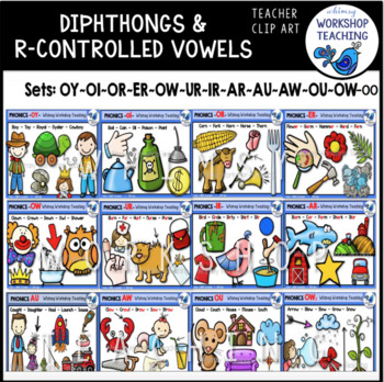 R Controlled and Dipthongs Big 12 Bundle Clip Art - Whimsy