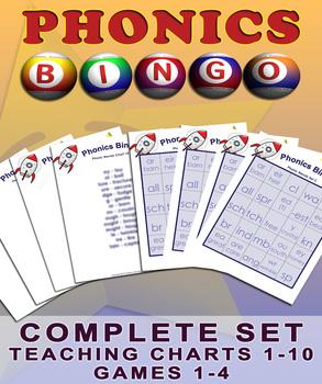 Phonics Bingo Blends - All Four Games and Accompanying Tea