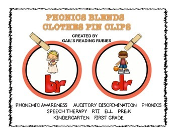 Phonics Blends Clothes Pin Clips Br and Dr