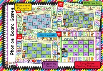 Phonics Board Games Packet - Complete Collection