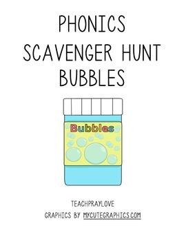 Phonics Scavenger Hunt Bubbles