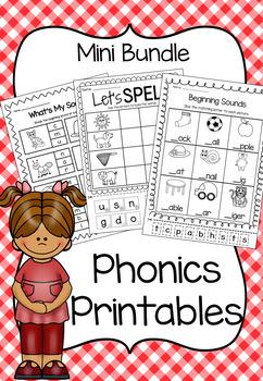 Phonics Printable Worksheet Bundle - Beginning Sounds and