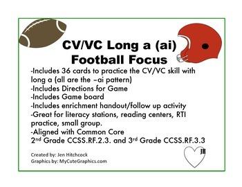 Phonics CVVC Long A Practice Game- Football Focus!