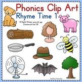Phonics Clip Art:  Rhyme Time 1 COLOR