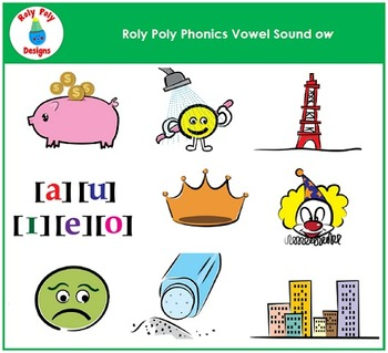 Vowel Sound OW Phonics Clip Art by Roly Poly Designs