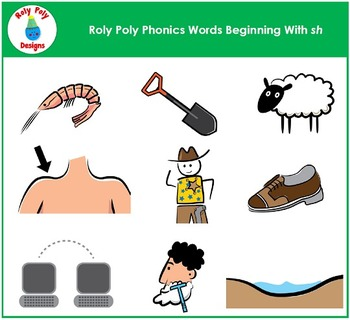 Words Beginning With SH Phonics Clip Art by Roly Poly Designs