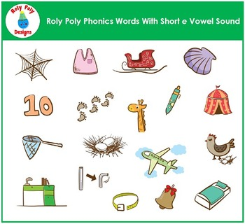 Short E Vowel Phonics Clip Art by Roly Poly Designs