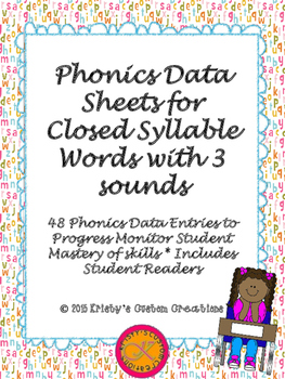 Phonics Data/ Progress Monitoring Sheets: Closed Syllable