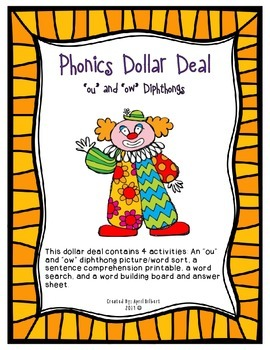 """Phonics Dollar Deal #19: Words with """"ou"""" and """"ow"""" Diphthongs"""