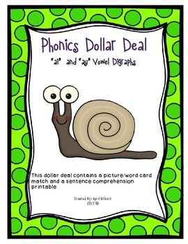 Phonics Dollar Deal #20: Long A Vowel Digraphs