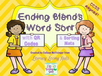 Phonics: Ending Blends with QR Codes and Sort Mats